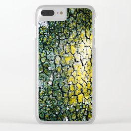 Yellow and Green Spotted Abstract Pigmented Tree Bark Print Clear iPhone Case