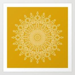 Tulip Mustard Yellow Boho Mandala Art Print