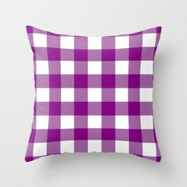 Gingham (Purple/White) Throw Pillow