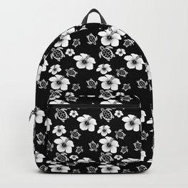 Black And White Floral And Turtle Hawaiian Pattern Backpack