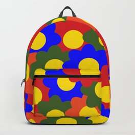 Colorful Flowers Red Blue Green Orange Backpack