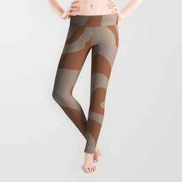 Liquid Swirl Abstract Pattern Taupe Clay Leggings