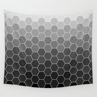 hexagon Wall Tapestries featuring hexagon black by tsynali
