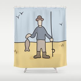 Beavid and Butthead Fisherman picture Shower Curtain