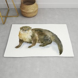 River Otter Watercolor Rug