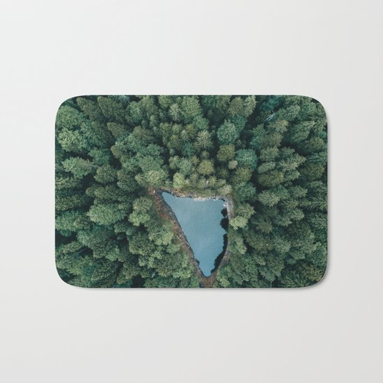 Hidden Lake in a Forest - Landscape Photography Bath Mat