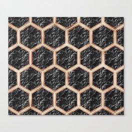 Black campari marble & copper honeycomb Canvas Print