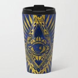 All Seeing Mystic Eye in Masonic Compass on Lapis Lazuli Travel Mug