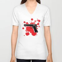 guns V-neck T-shirts featuring Guns Kill by DaceDesigns