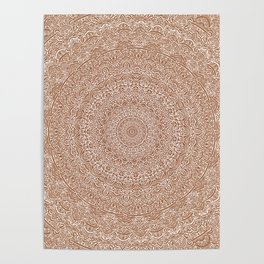 The Most Detailed Intricate Mandala (Brown Tan) Maze Zentangle Hand Drawn Popular Trending Poster