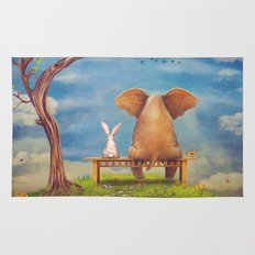 Elephant and rabbit sit on a bench on the glade Rug