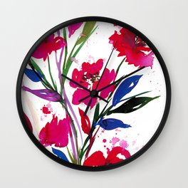 POCKETFUL OF POSIES 1, Colorful Summer Watercolor Floral Painting Abstract Red Blue Pink Flowers Art Wall Clock