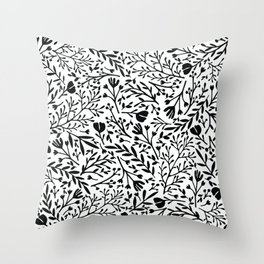 Scattered Flowers Black and White 2 Throw Pillow