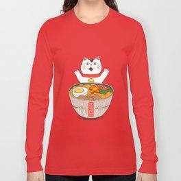 Liter of Ramen. Japanese soup and Manekineko cat. Long Sleeve T-shirt