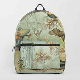 SEA CREATURES COLLAGE, OCEAN ILLUSTRATION Backpack