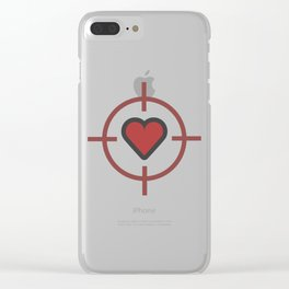 Heart Sniper Cute Valentines Day Lover Gift Idea Design Clear iPhone Case