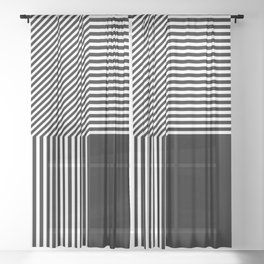 Geometric abstraction, black and white Sheer Curtain