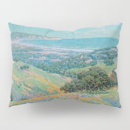 Malibu Coast, California with wild poppies floral seascape painting by Granville Redmond Pillow Sham