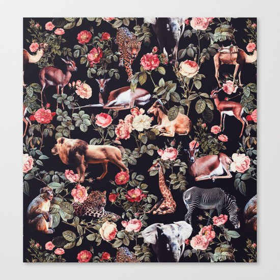 Animals and Floral Pattern Canvas Print