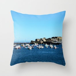 Boats & The Castle Throw Pillow