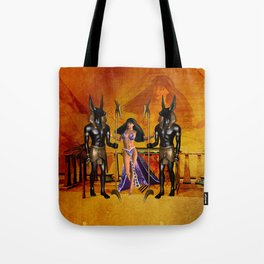 Egyptian women with anubis Tote Bag