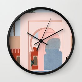 traveling via illustration Wall Clock