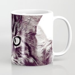squinting maine coon cat vector art white Coffee Mug