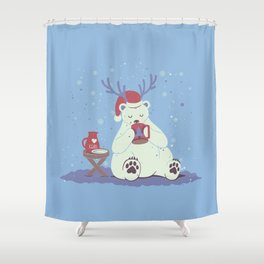Polar Xmas Eggnog Shower Curtain