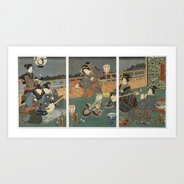 Utagawa Kunisada - Courtesans Entertaining (1850s) Art Print