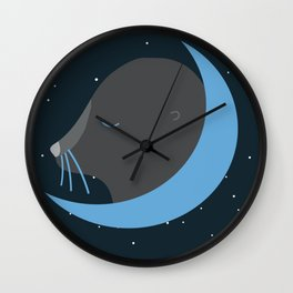 Otter moon Wall Clock