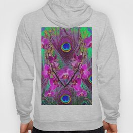 Blue Green Peacock Feathers Fuchsia Orchid Patterns Art Hoody