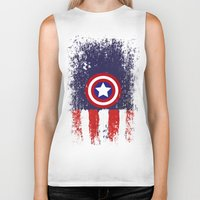 "steve rogers Biker Tanks featuring Captain ""Steve Rogers"" America by Some_Designs"