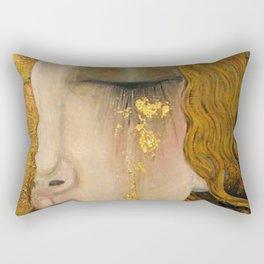 Golden Tears (Freya's Heartache) portrait painting by Gustav Klimt Rectangular Pillow