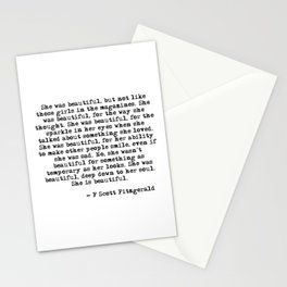 She was beautiful - Fitzgerald quote Stationery Cards