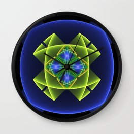 3D Graphic, Colorful Luminous Fractal Art Wall Clock
