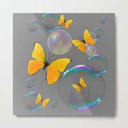 YELLOW BUTTERFLIES  & SOAP BUBBLES GREY COLOR DESIGN ART Metal Print