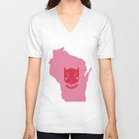 milwaukee V-neck T-shirts featuring Milwaukee Meowaukee by Mermade