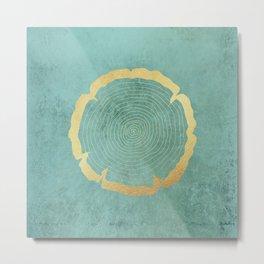 Gold Foil Tree Ring Metal Print