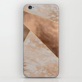 Copper Foil and Blush Rose Gold Marble Triangles iPhone Skin