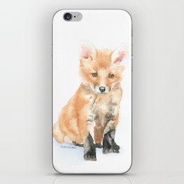 Baby Fox Watercolor Painting - Woodland Animal iPhone Skin