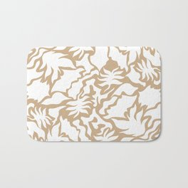 Minimal Shapes Peach Skintone Fall Palm Leaf Pattern Digital Art Print Bath Mat
