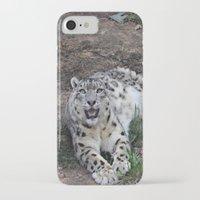 snow leopard iPhone & iPod Cases featuring Snow Leopard by Kaleena Kollmeier
