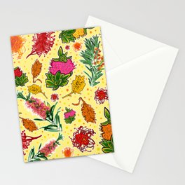 Australian Native Floral Print on Yellow Stationery Cards
