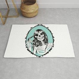 Gothic Skeleton Girl, Acquamarine Mirror Rug