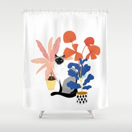 siamese cat and plants Shower Curtain