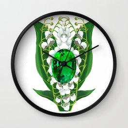 Birth Stone & Flower Print/MAY Wall Clock