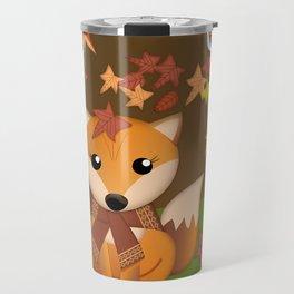 Fall fox, owls and leaves, vector illustration Travel Mug
