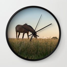 Grazing at Sunset Wall Clock