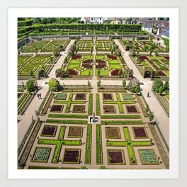 The Gardens at Chateau Villandry in France Art Print