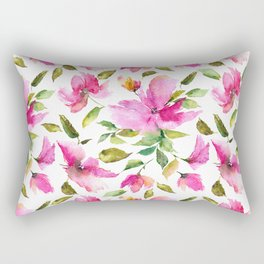 Pink flowers. Watercolor lovely florals. Rectangular Pillow
